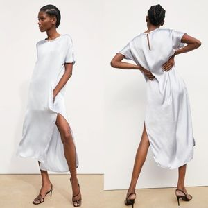 NEW Zara Silver Satin Short Sleeve Midi Dress